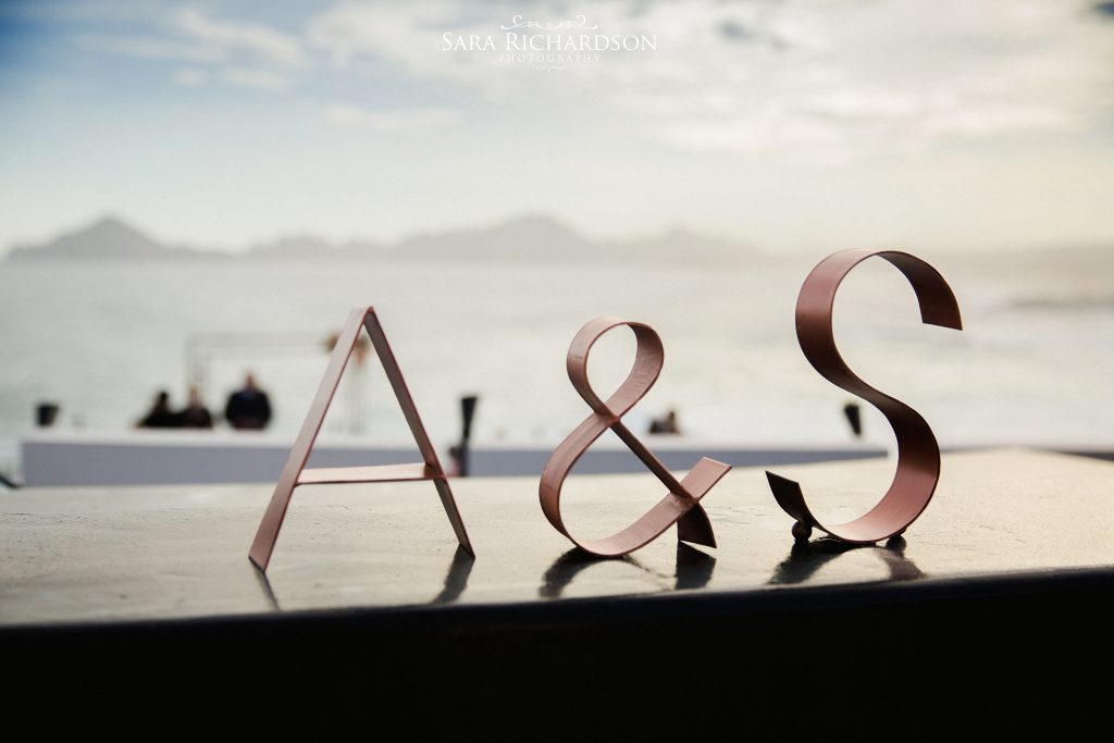 bride & grooms initials at a modern wedding in Cabo