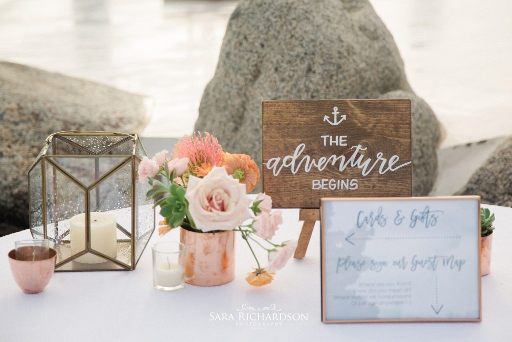modern wedding table signs with copper detail