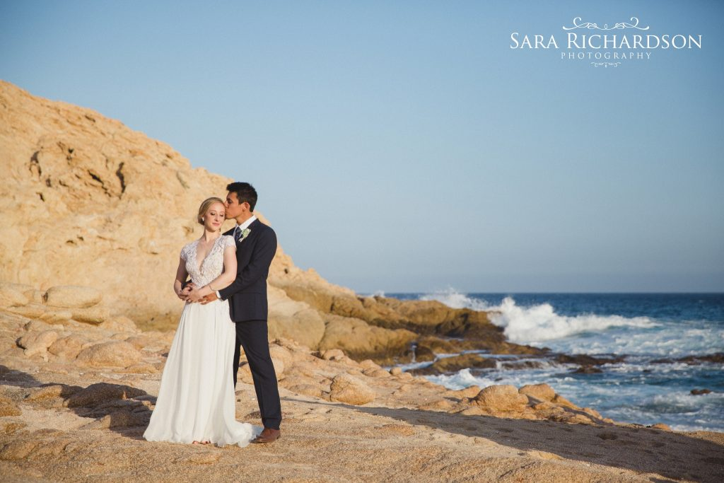 romantic beach wedding setting for photos