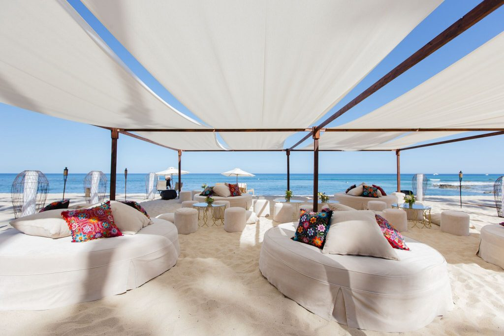 Amazing lounging area at a Cabo beach wedding