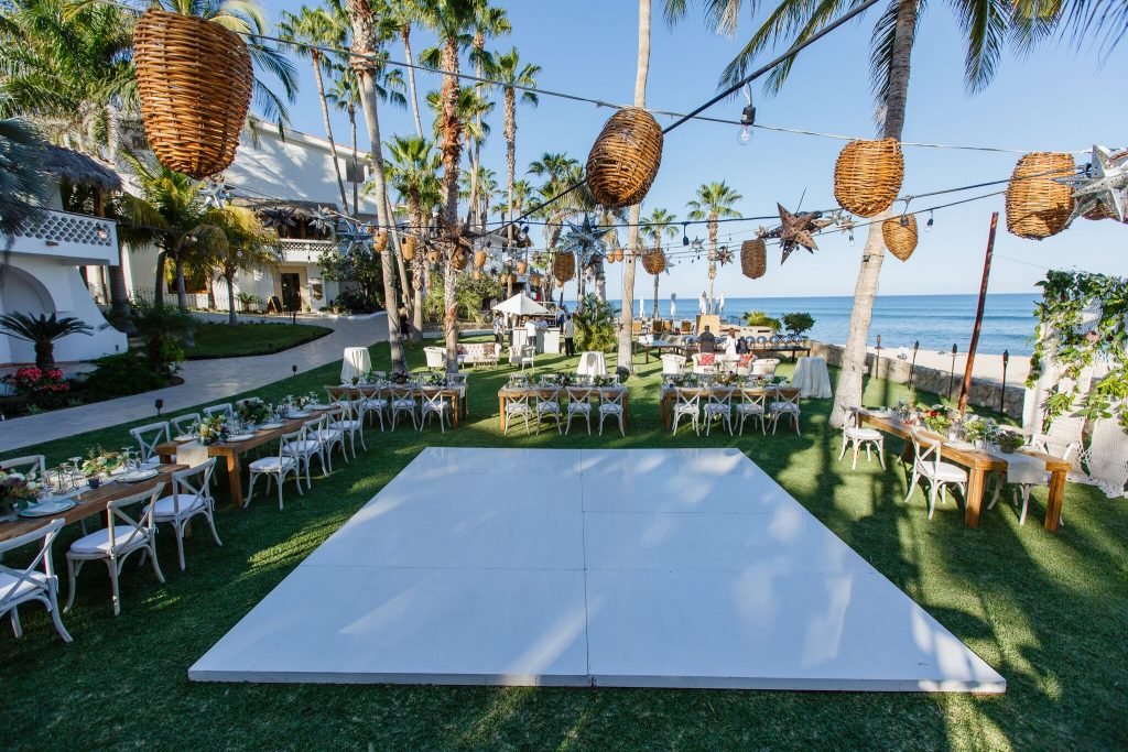 Cabo beach wedding party time! Reception with a view!