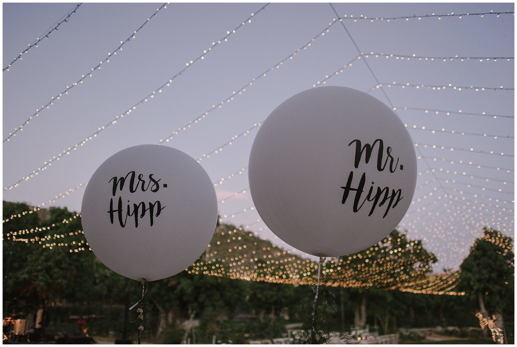 Fun Mr & Mrs Hipp balloons introduced a playfulness to this beautiful Cabo wedding