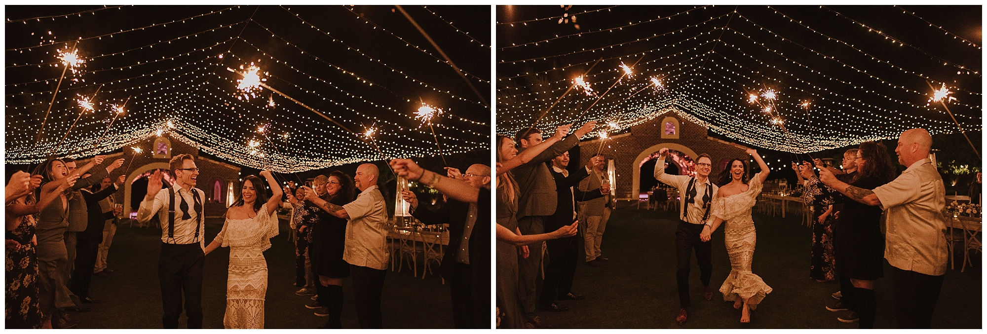 Using sparklers to bid farewell to the happy couple on what was a beautiful Cabo wedding