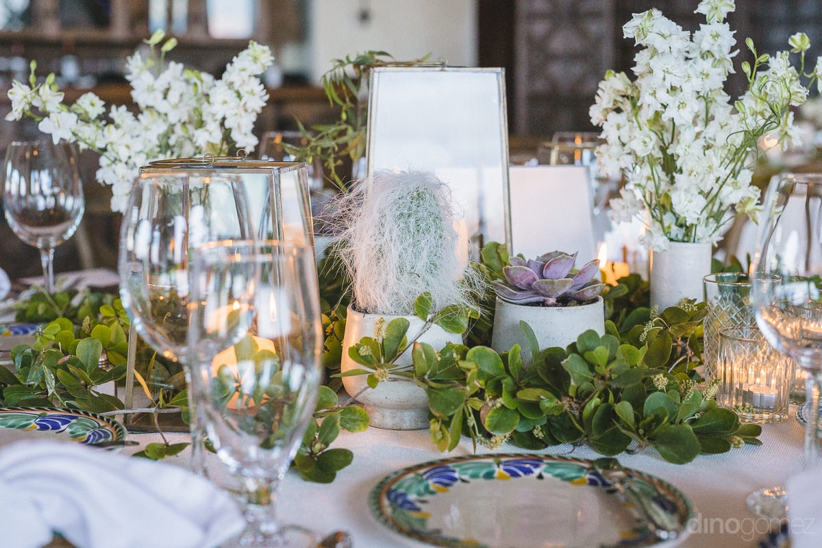 white and green succulents Cabo del Sol wedding table design