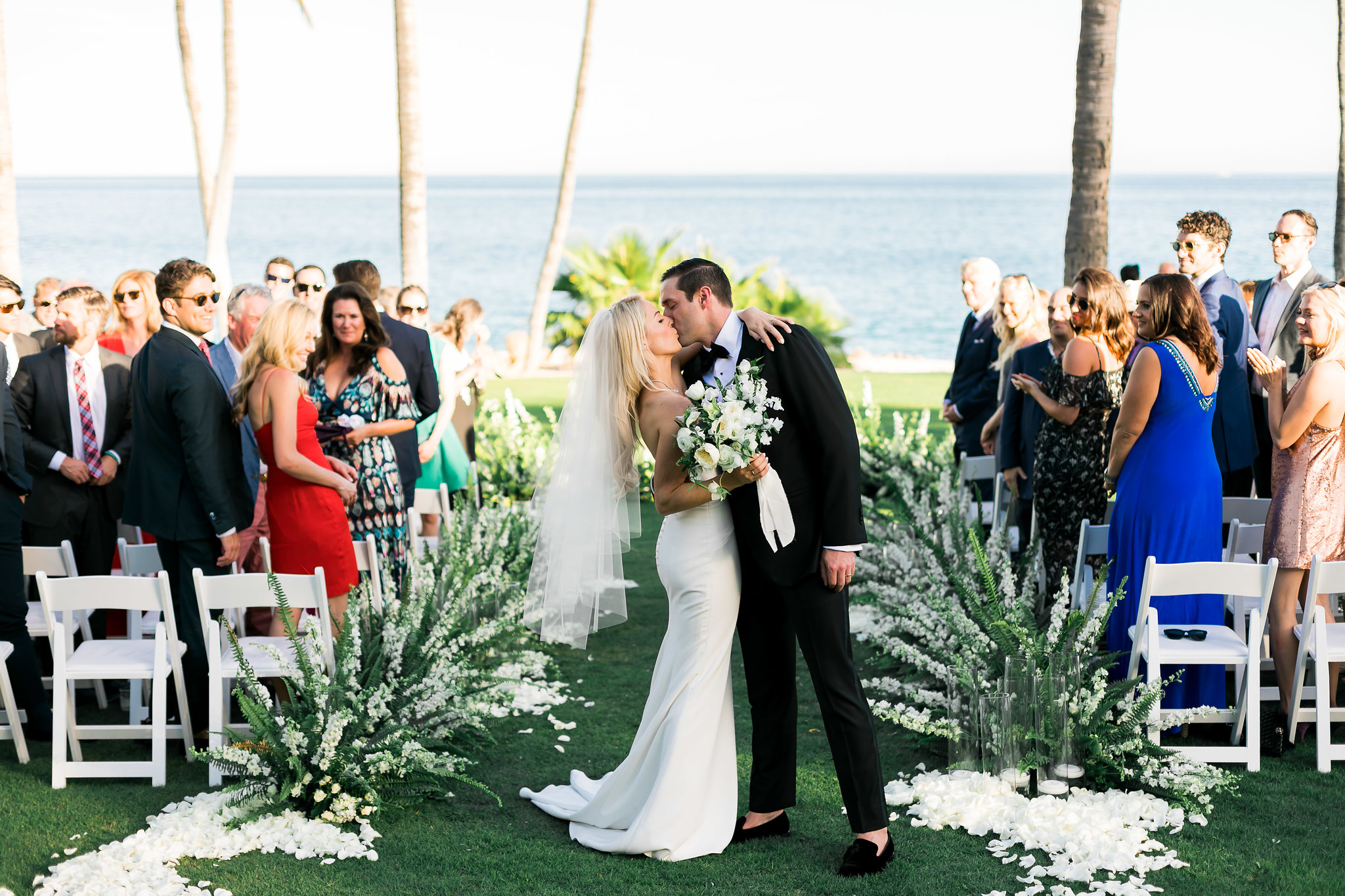 the happy couple at their White Wedding At The One & Only Palmilla
