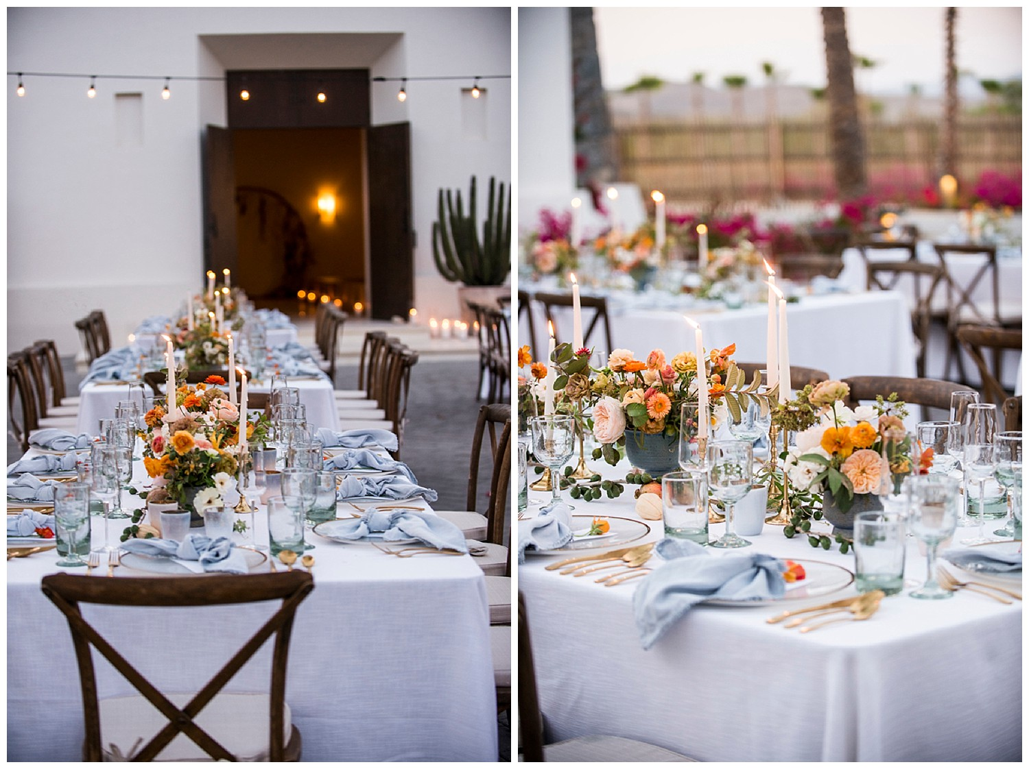 colorful tables at wedding in Todos Santos