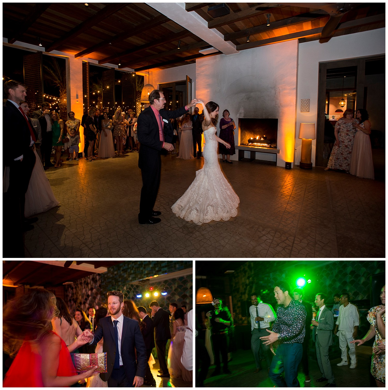 bride and groom take their first dance at wedding in Todos Santos