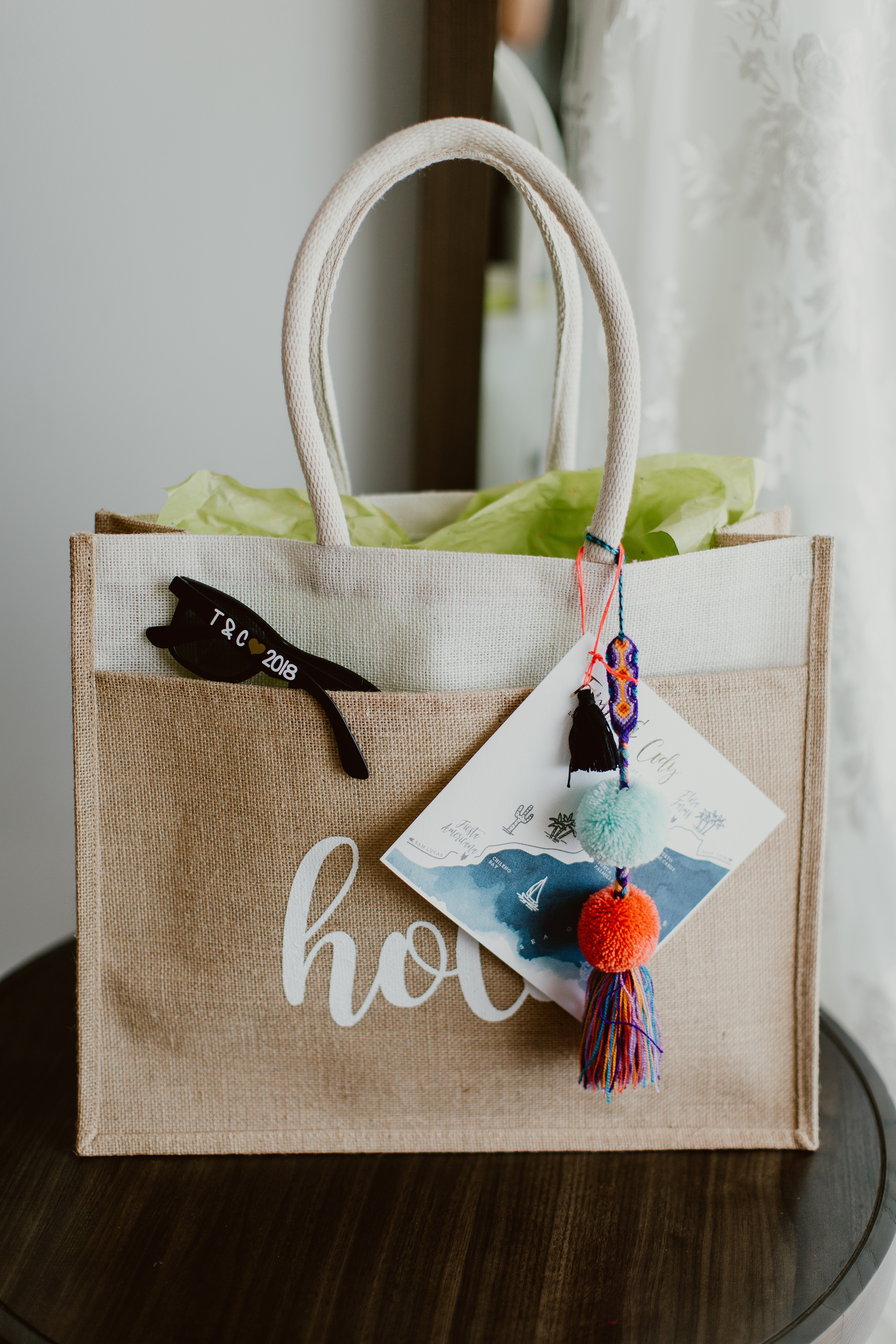 Hola welcome bags for June wedding at Flora Farms
