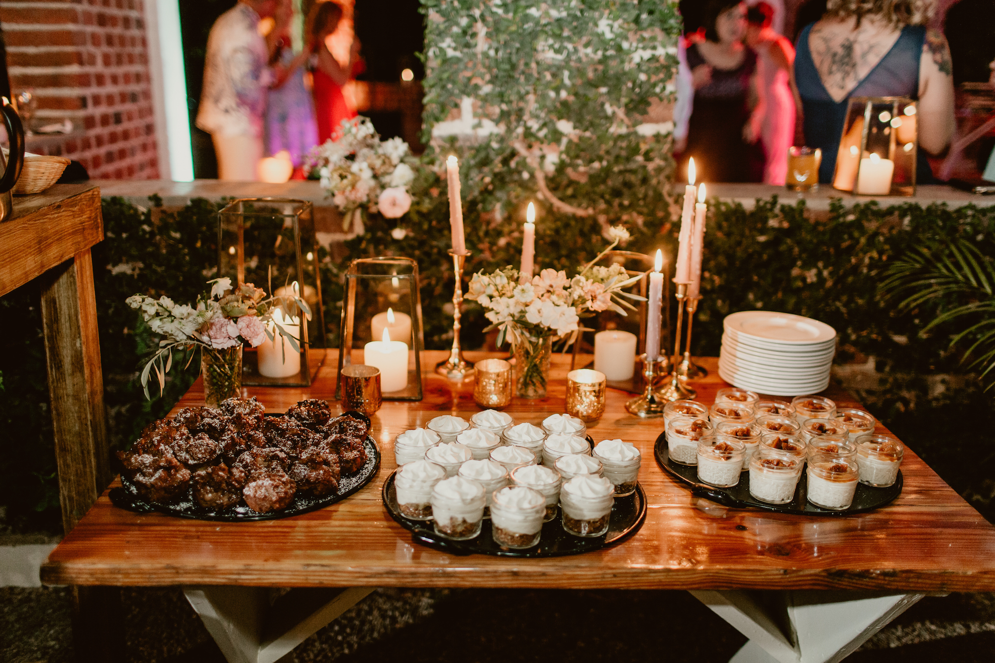 dessert table at June wedding at Flora Farms