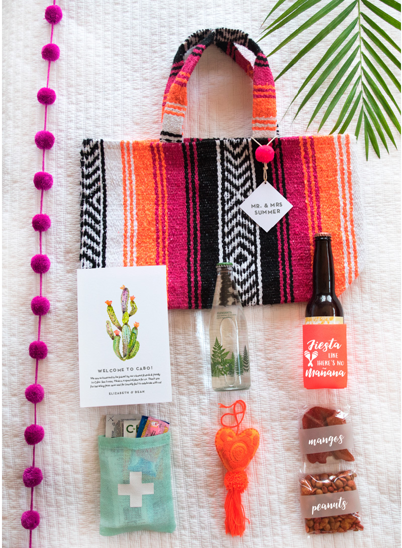 colorful Mexican wedding welcome gift bag