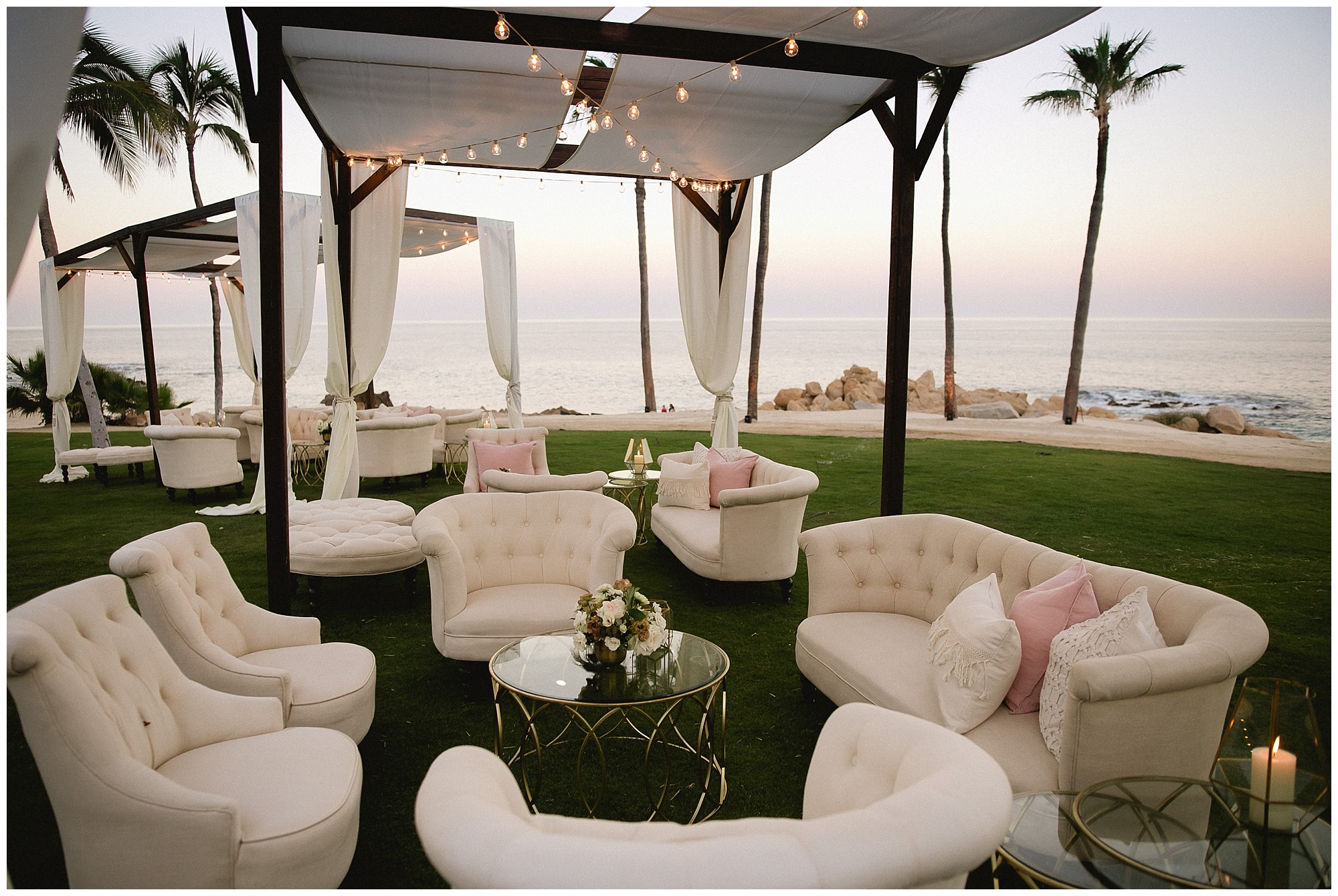 breath-taking lounging area at a One&Only Palmilla wedding