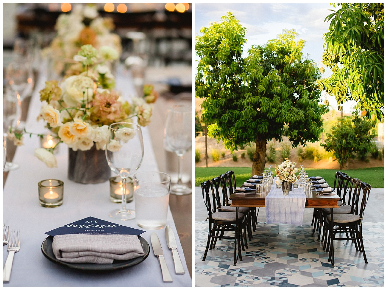simply classic table setting for a rehearsal dinner at Acre