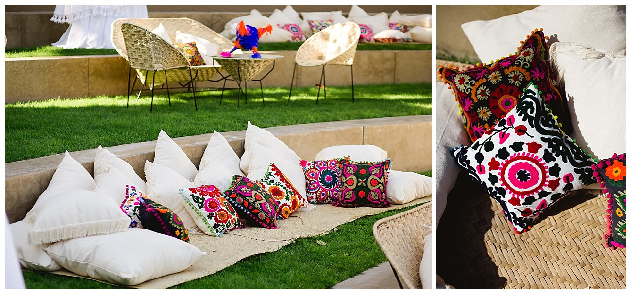 traditional colorful Mexican pillows at a welcome Fiesta for a wedding at JW Marriott