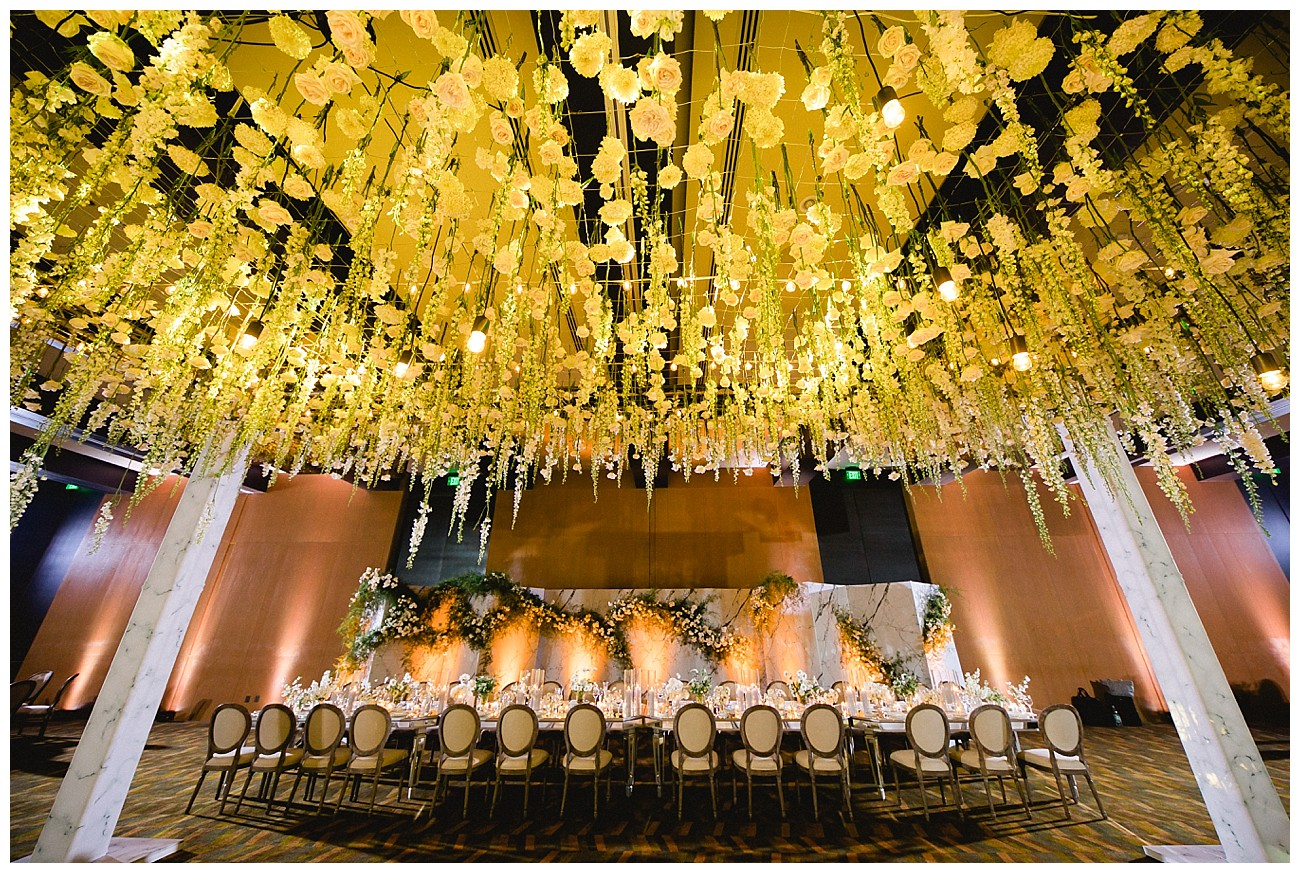 a ceiling of flowers for a wedding at JW Marriott San Jose del Cabo