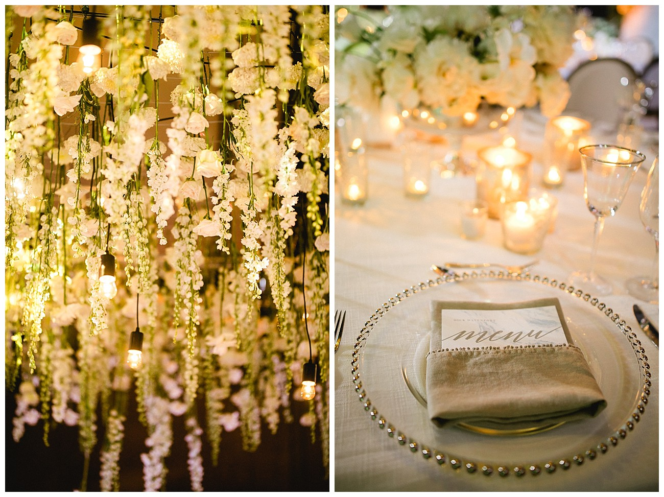 hanging flowers and delicate table settings at white floral theme for a wedding at JW Marriott San Jose del Cabo