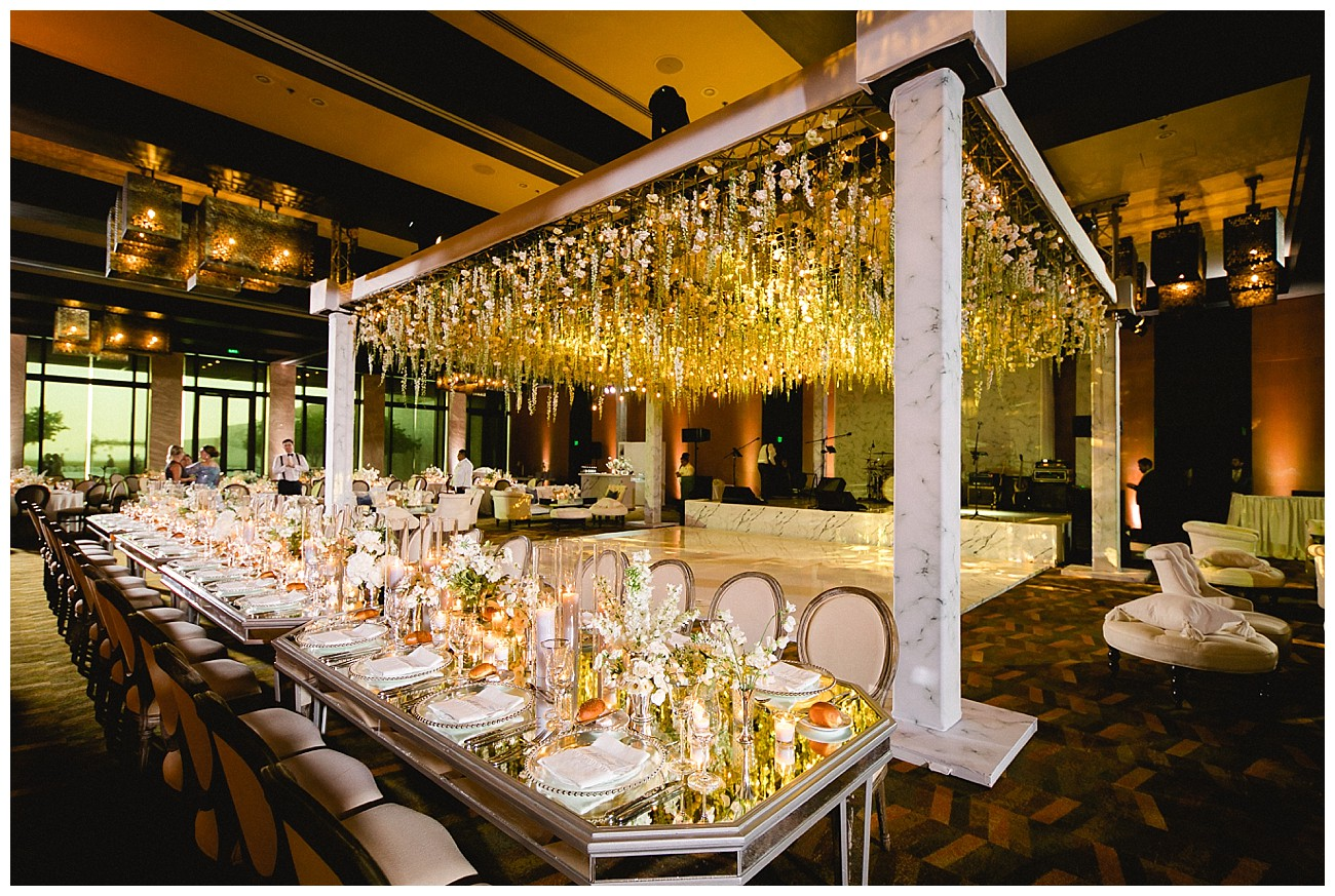 classic wedding reception with white floral theme for a wedding at JW Marriott San Jose del Cabo