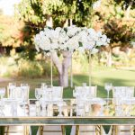 reception table at a white wedding at Flora Farms
