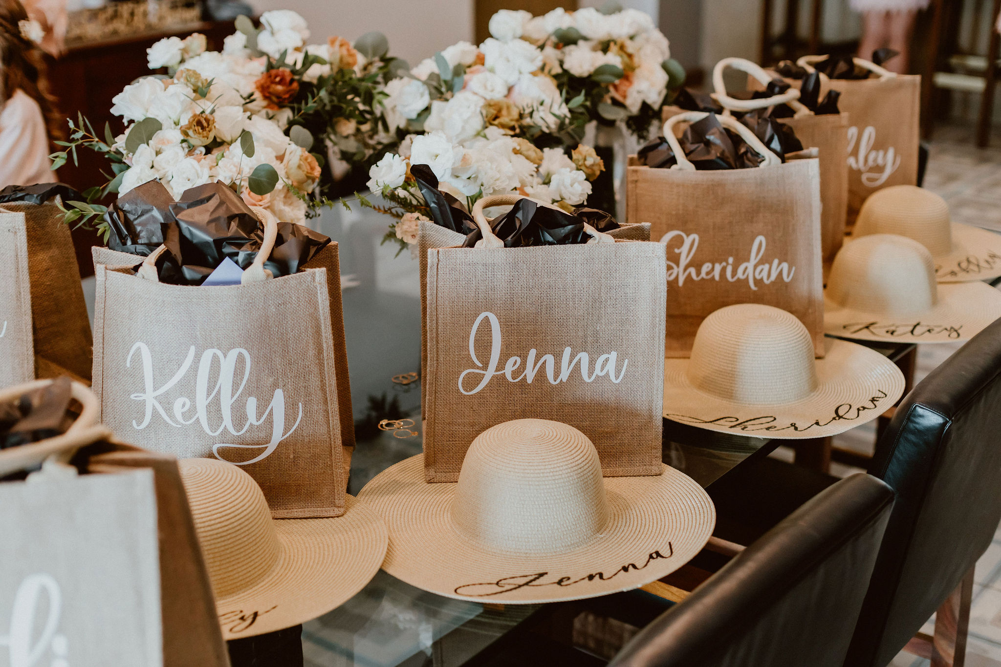 personalized gift bags for the bridal party at a Cabo destination wedding