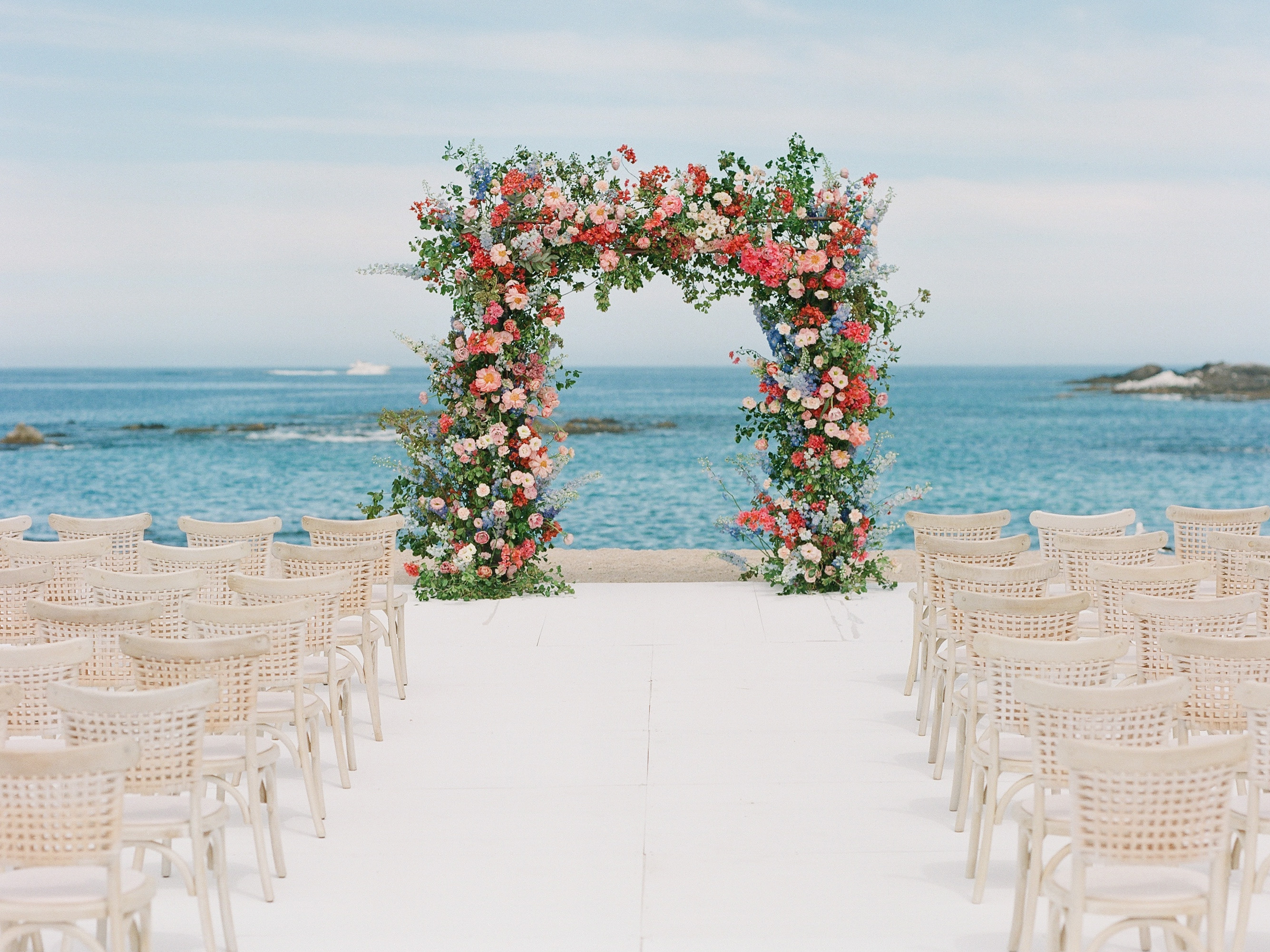stunning wedding arch during a destination wedding in Cabo